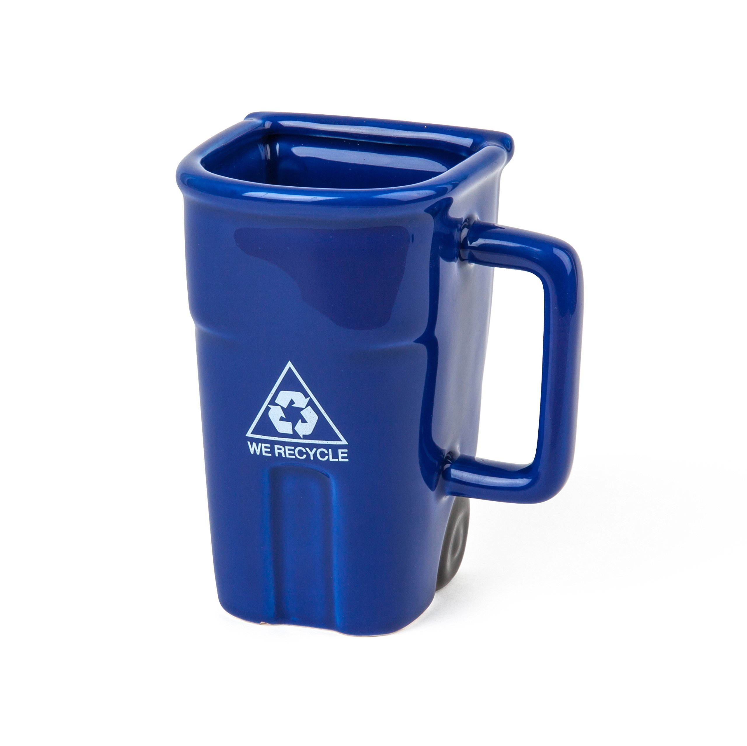 BigMouth Inc The Recycling Bin Mug, Fun Blue Ceramic Trash Can Drinking Mug for Coffee or Tea, Holds up to 12 oz.