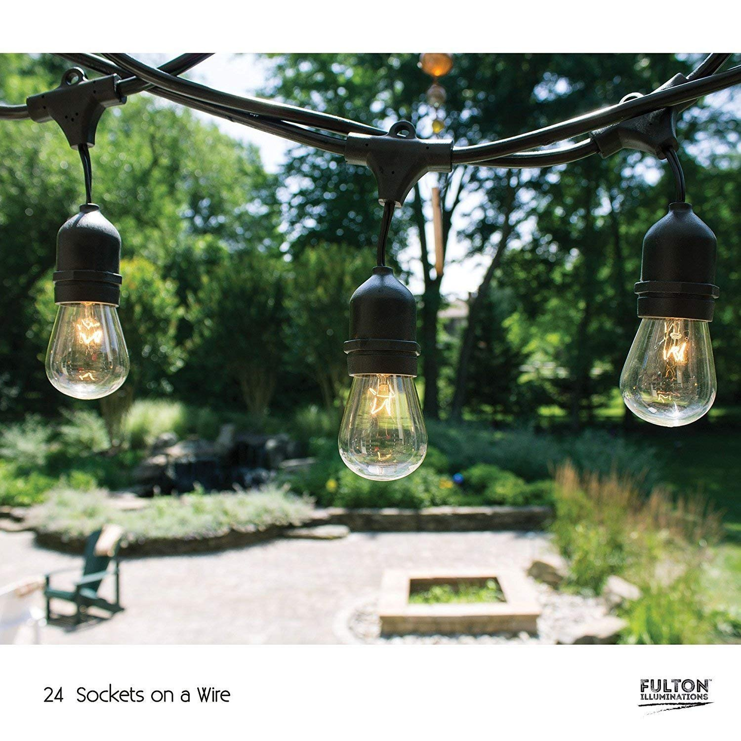 Fulton Illuminations S14 24 Bulbs Outdoor String Lights with 6 Extra Bulbs and 13 Ft Extension Cord, 48 Feet - Commercial Weatherproof Patio String Lights by Fulton Illuminations (Image #5)