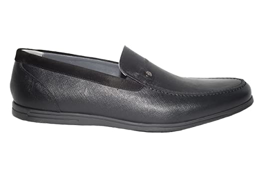 3462-06 Italian mens black leather loafers with suede trimming