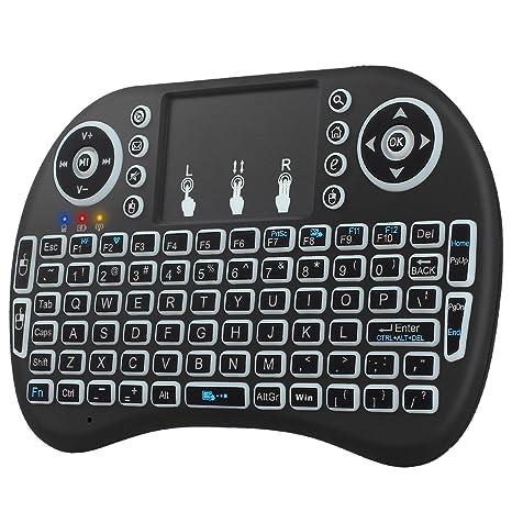 neoteck retroiluminado teclado inalámbrico 2.4 ghz inalámbrico 3 colores retroiluminada KODI XBMC teclados con ratón touchpad ...
