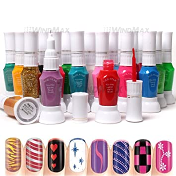 Amazon.com : Professional 24 Colors Two Way Nail Art Polish Brush ...