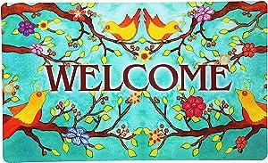 Morigins Welcome Spring Birds Floral Door Mat Indoor Rubber Outdoor Mats Non Slip 18x30 inch