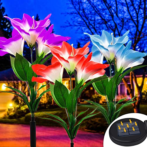 OSORD Outdoor Solar Garden Stake Lights, Upgraded Waterproof Solar Flower Lights LED Multi-Color Changing Auto On Off Yard Garden Landscape Decorative Solar Lights for Lawn Patio Pool Area 3 Pack