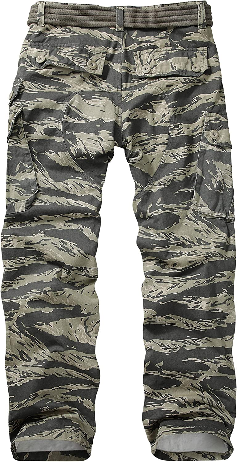 TRGPSG Mens Cotton Wild Cargo Pants Military Army Camouflage Casual Work Combat Hiking Trousers with 8 Pockets