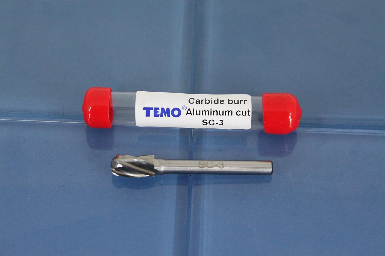 Head Round Tree 1//4 inch 12.7mm 50.8mm Diameter 2 inch Long Shank 6.35mm TEMO SF-5 NF Aluminum Cut Carbide Rotary Burr File 1//2 inch