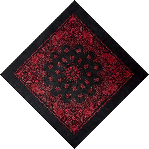 Grande Negro algodón plaza Bandana Bufanda Redonda Western Rojo Paisley 27 pulgadas: Amazon.es: Hogar