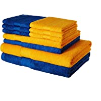 AmazonBrand-Solimo 100% Cotton 10 piece Towel Set, 500 GSM