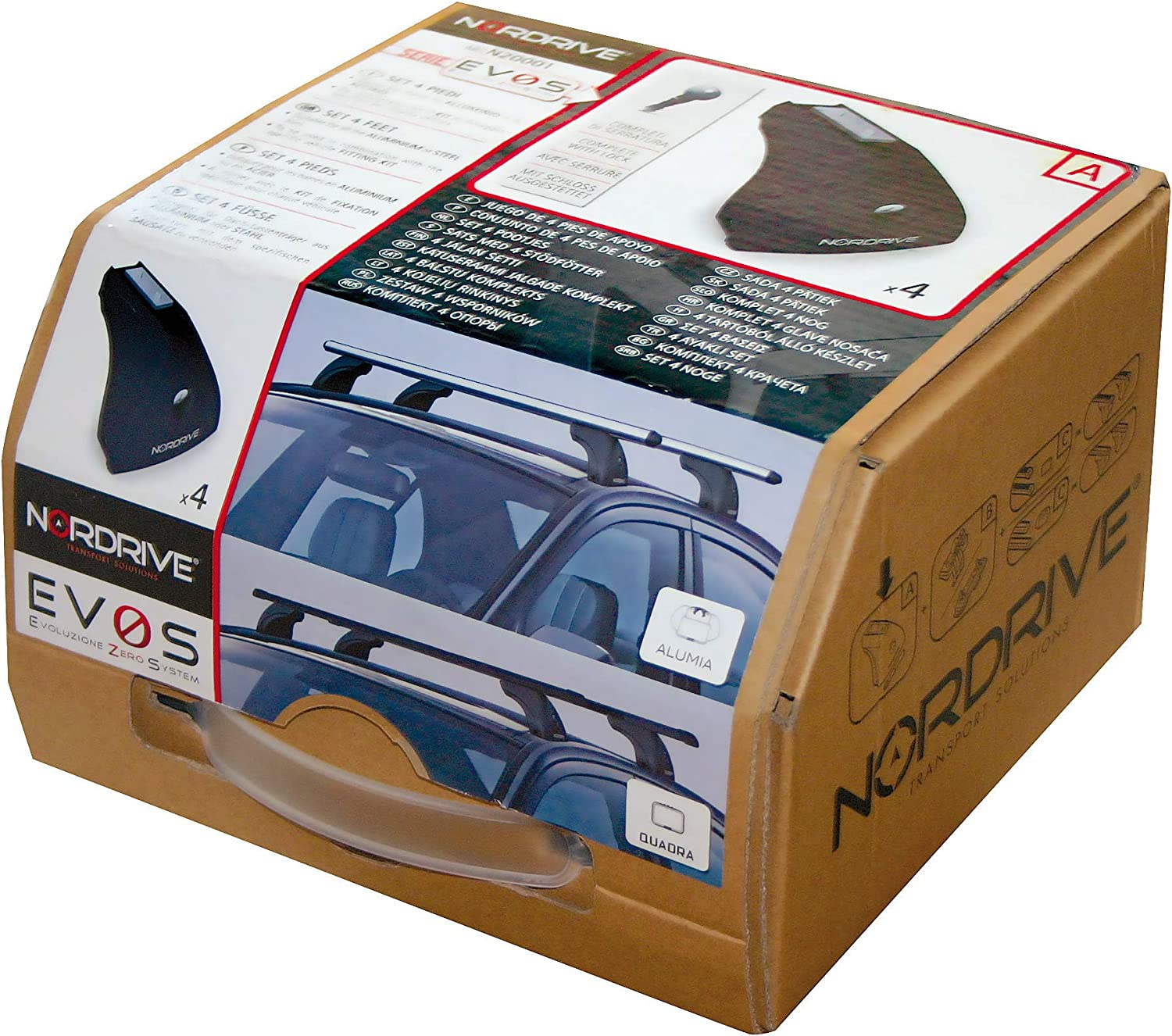 NORDRIVE N15026+N20001+N21160-11757 Nordrive Aluminium Aerodynamic Roof Rack Bars Easy to Fit Only for the Model Without Rails Lockable