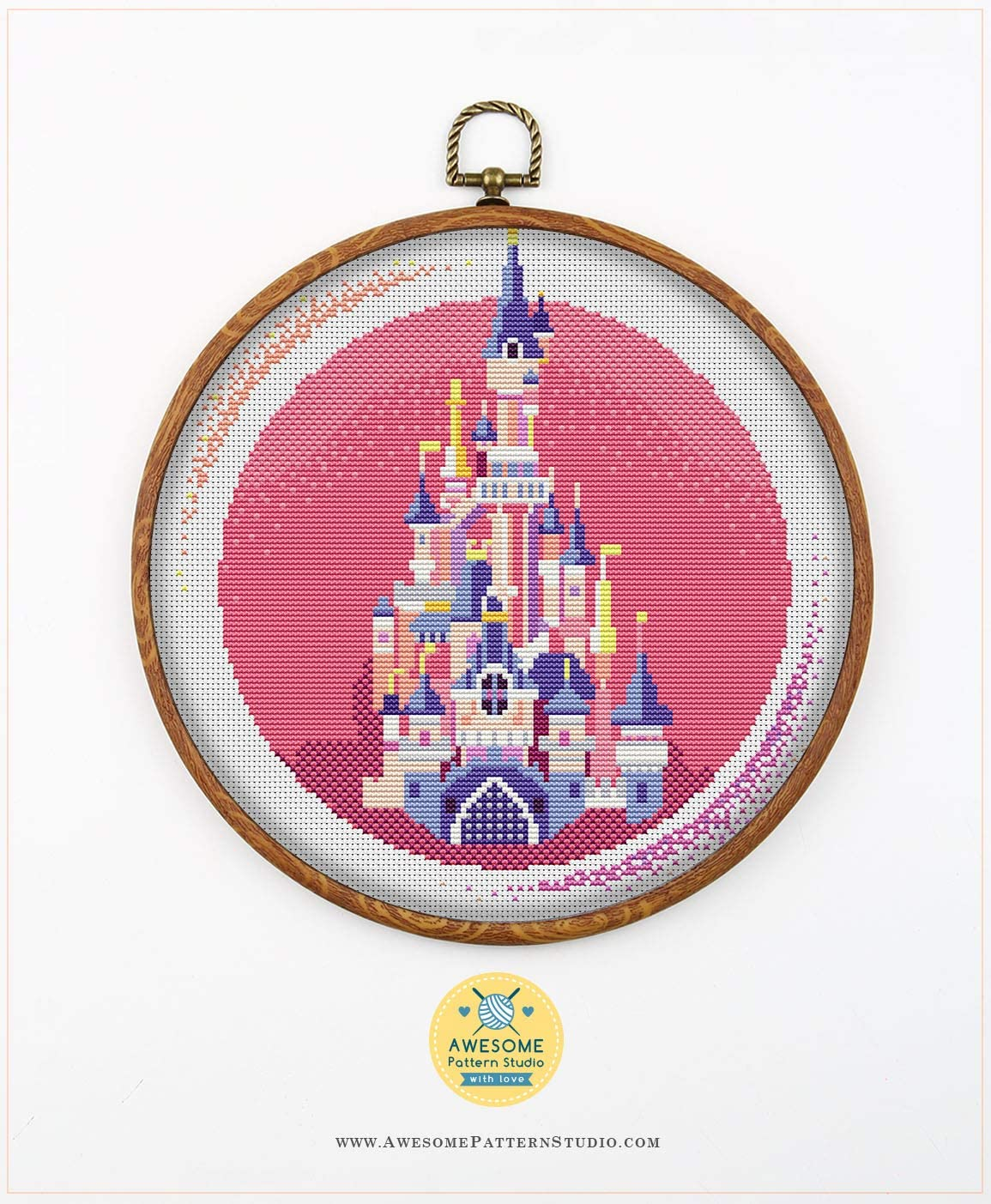 Paris Disney Castle K809 Counted Cross Stitch Pattern Needles 4 Printed Schemes Inside No Fabric Threads Embroidery Pattern Hoops