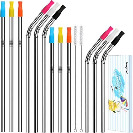 Edelstahl Strohhalme Wiederverwendbar,metallstrohhalme,12mm Extra Breite Strohhalme Farbigen,Waschbar,Mit Reinigungsb/ürsten F/ür Smoothie,Milchshake