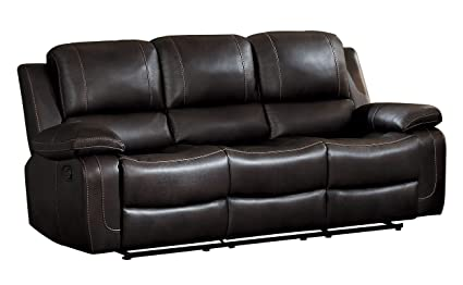 Homelegance Oriole Double Reclining Sofa AirHyde Breathable Faux Leather  With Drop Down Center Cup Holders,