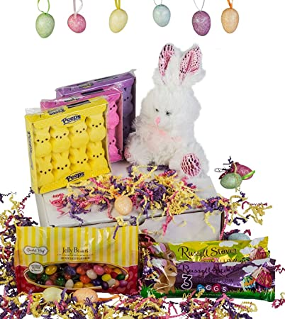 Amazon charmed crates easter gift basket bunny charmed crates easter gift basket bunny marshmallows and jelly beans gift box set negle Image collections