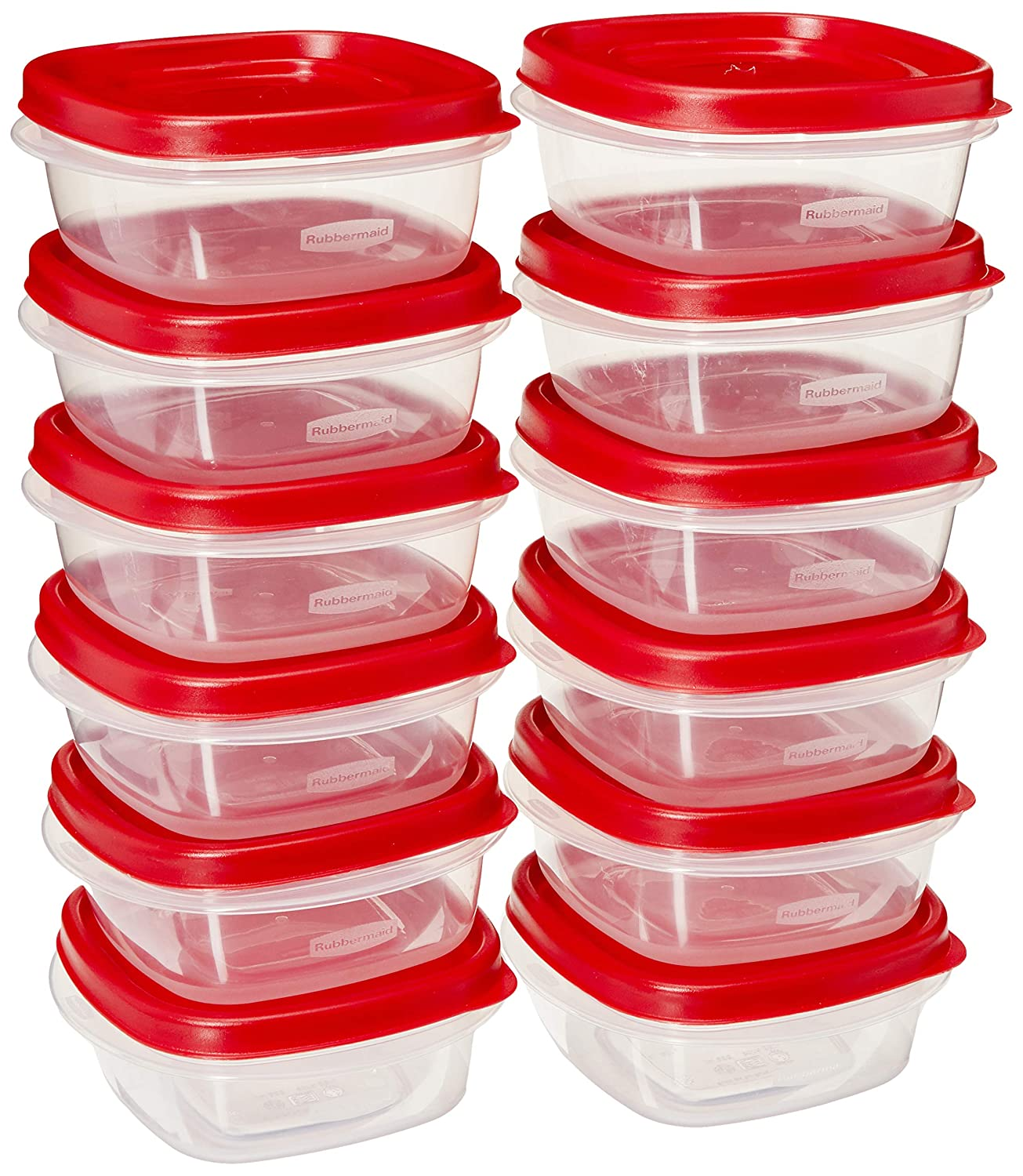 Rubbermaid COMIN18JU082133 669900229708 Easy Find Lid Square 1-1/4-Cup Food Storage Container, 12 Pack, 12-Pack, Red, Clear