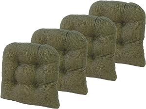 Klear Vu Tyson Gripper Universal Non-Slip Overstuffed Dining Chair Cushion, 4 Pack, Green