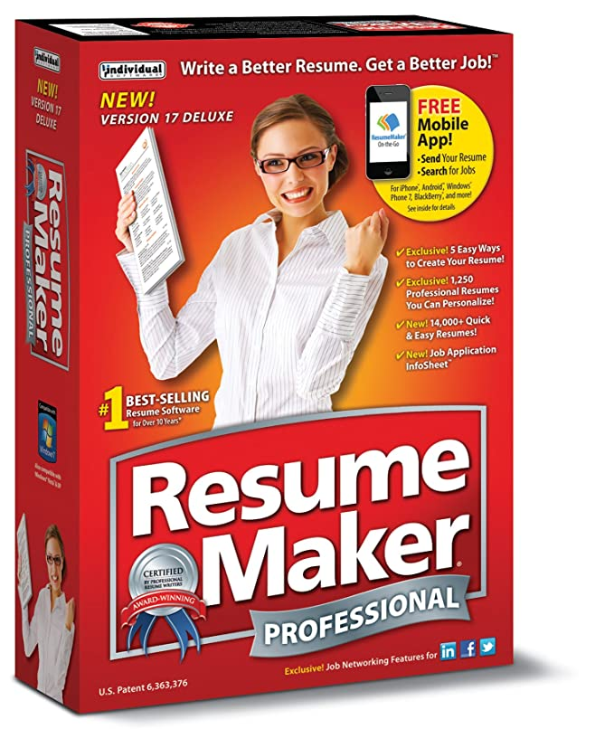 Individual Software Resume Maker Professional Deluxe 17 Amazon