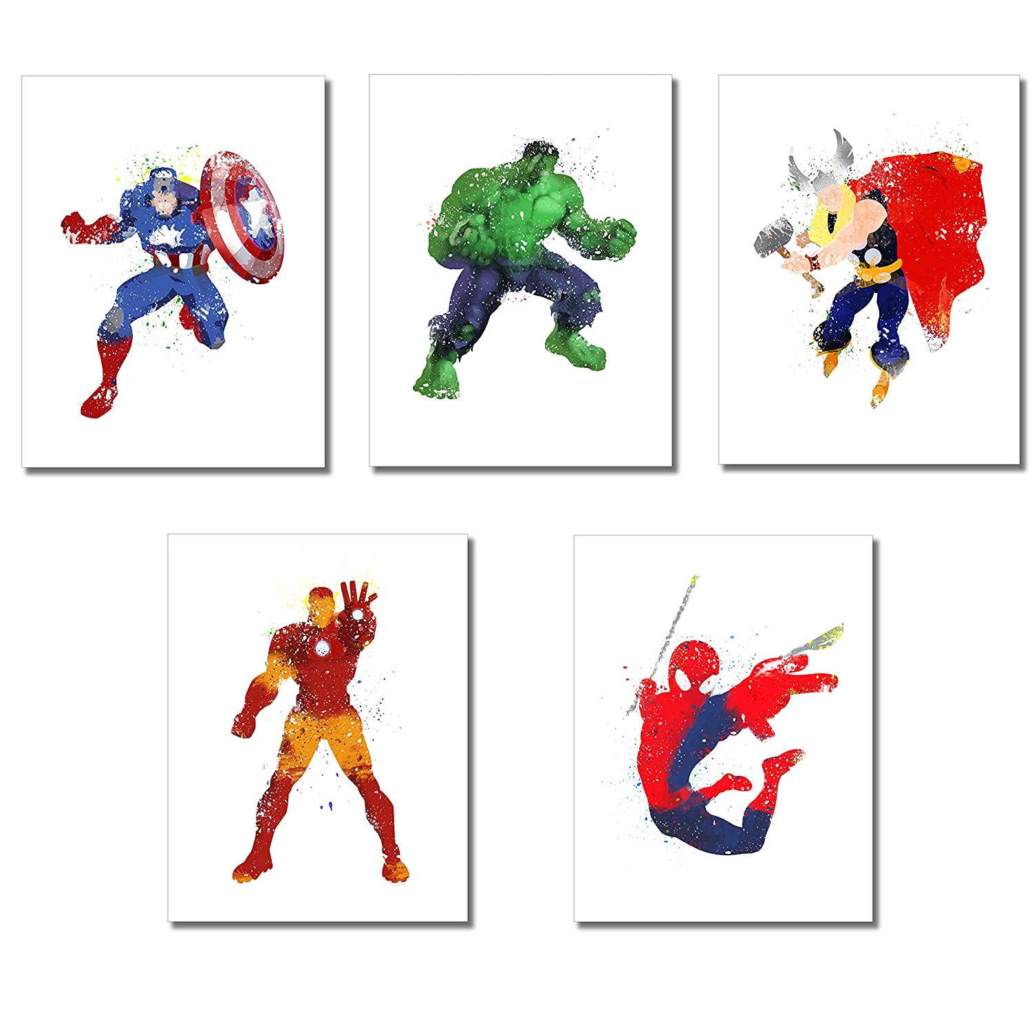 Superhero Watercolor Prints - Set of 5 Photos (8.5 inches x 11 inches)