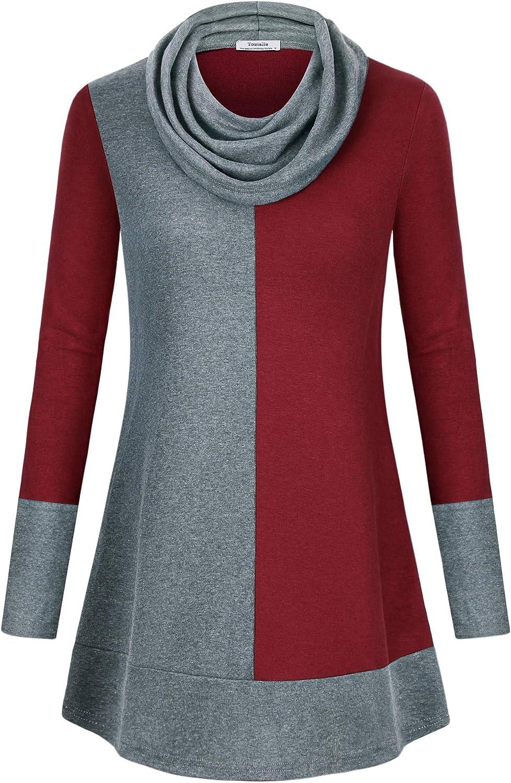 Youtalia Women's Hoodie Sweatshirt Long Sleeve Cowl Neck Pullover Color Block Thin Tunic Top