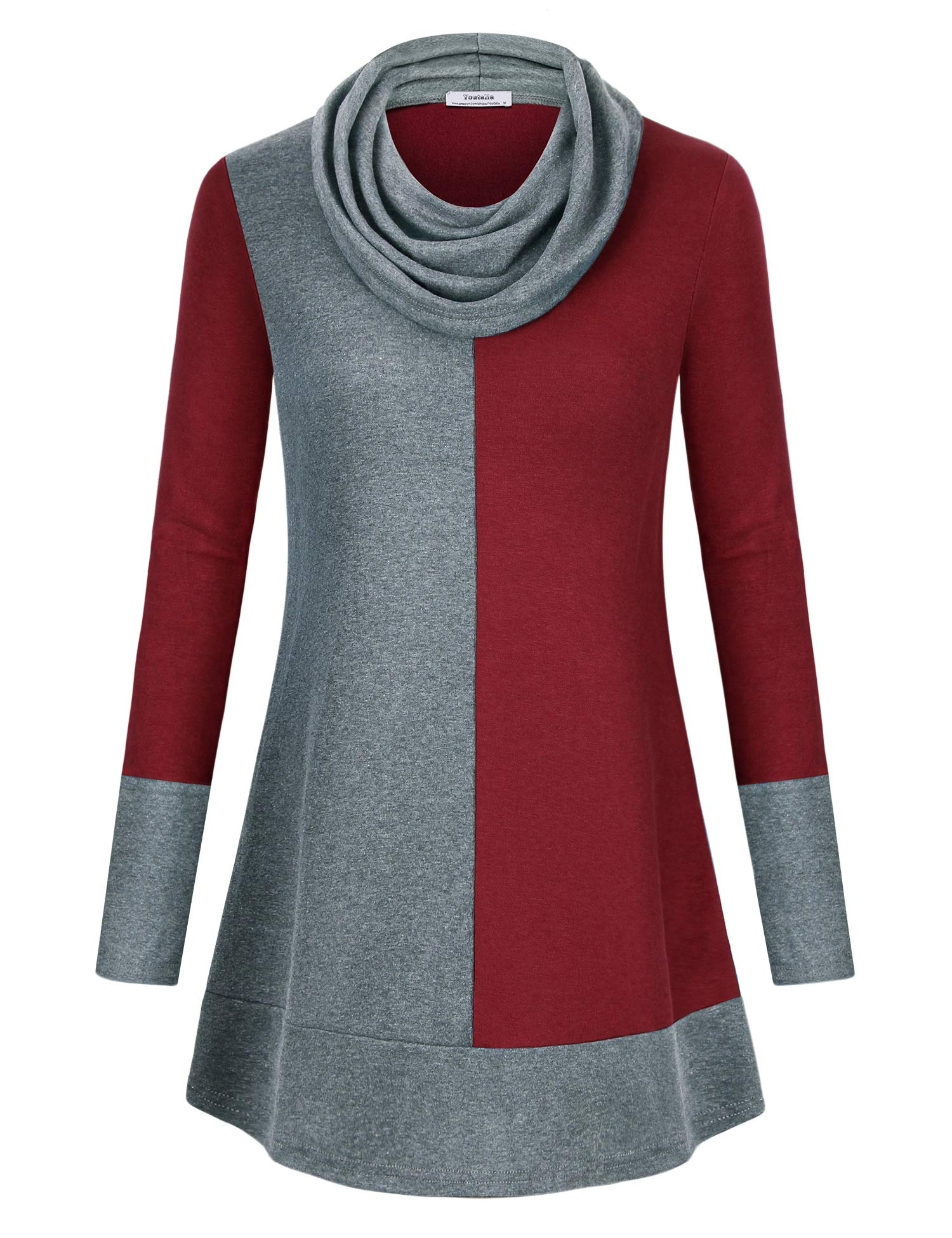 Youtalia Plus Tunics for Women, Ladies Long Sleeve Tunic Blouse Sexy Cowl Neck Flowy Hem A Line Hoodie Color Block Shirt Thin Casual Tunic Tops Wine XX-Large