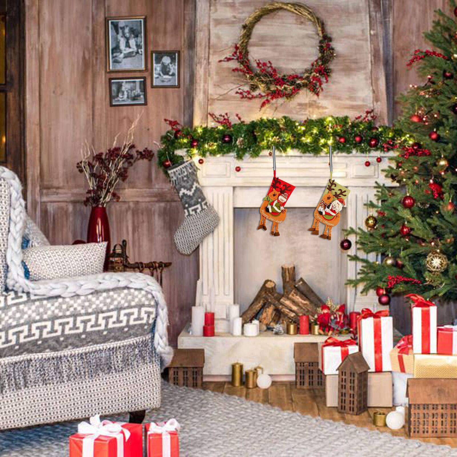 TAZEMAT 4 Stück Weihnachtsstrumpf Halter Weihnachtsstrumpf-Haken Metall quadratische Halter für Kaminsimse mit rutschfestem Design für Weihnachten Party Dekoration