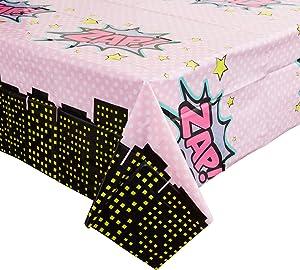 Girl Hero Comic Book Plastic Table Covers (54 x 108 in, 3 Pack)