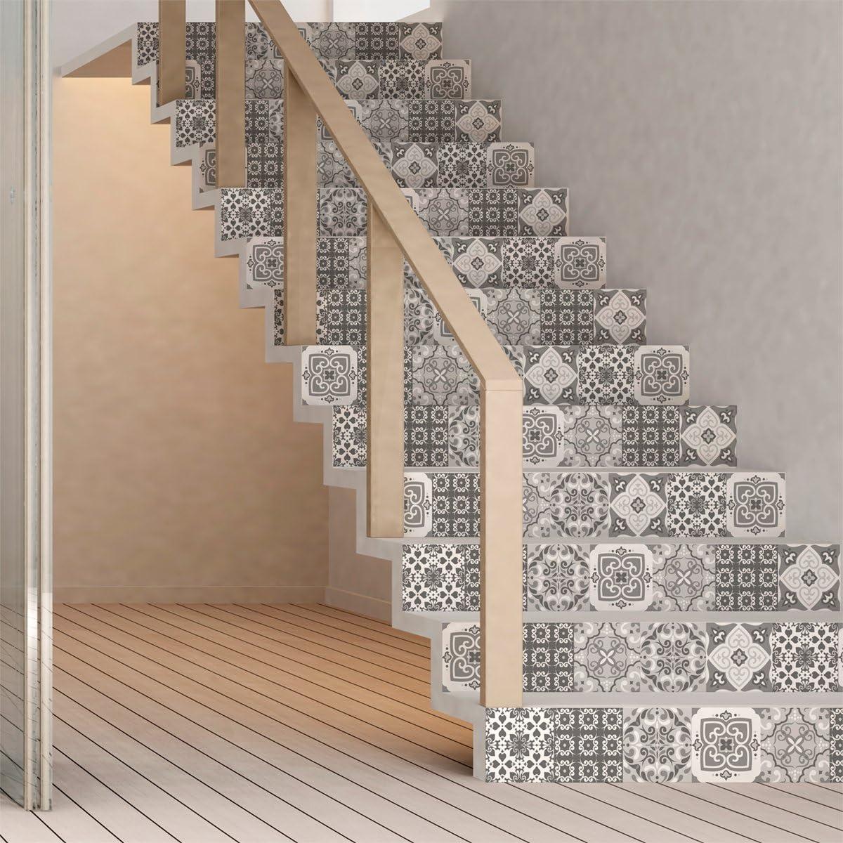 Escalier carreaux de ciment adh/ésif Stickers contremarche carrelages 2 bandes 15 x 105 cm Sticker Autocollant contremarche Carreaux de ciment azulejos Stickers adh/ésifs escalier carrelages