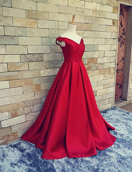 Womens Prom Dresses Long Off The Shoulder Princess Ball Gown