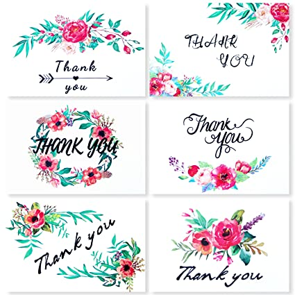 Thank You Cards 36 Pack Notes Blank Greeting Bulk Set