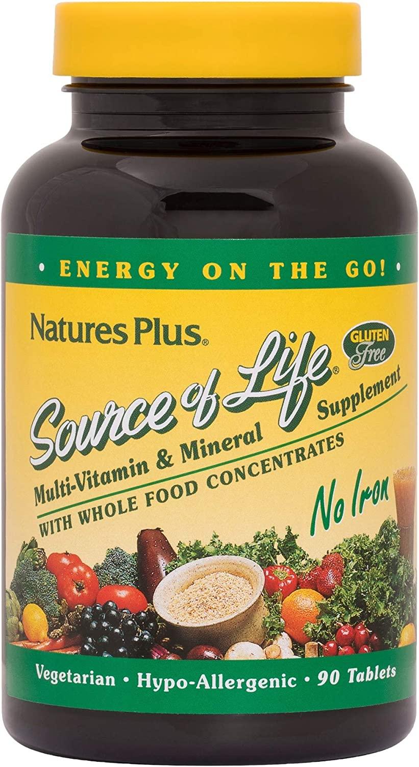 NaturesPlus Source of Life No Iron Tablets – 90 Vegetarian Tablets – Whole Food Multivitamin Mineral Supplement, Energy Immunity Booster- Gluten-Free – 30 Servings