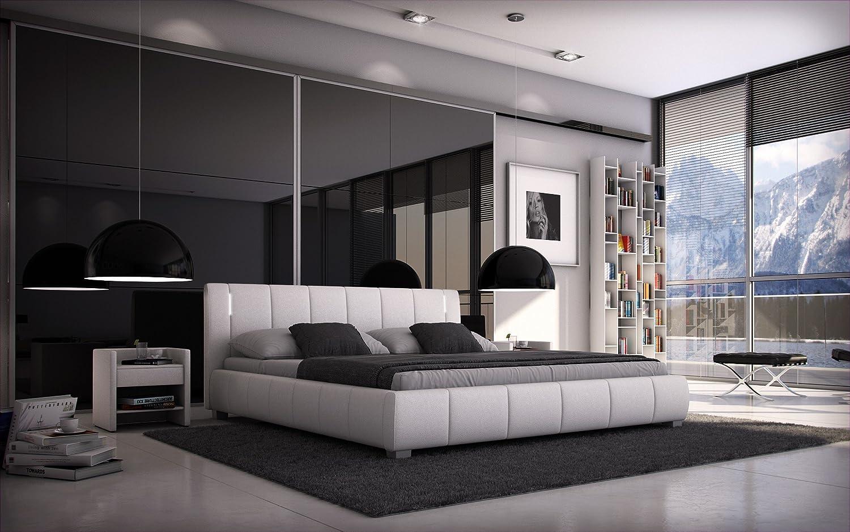 Grau LED//Kunstleder Sedex Bett Luna 140x200cm Doppelbett//Polsterbett//Designerbett inkl