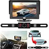 Backup Camera and Monitor Kit For Car,Universal Wired Waterproof Rear-view License Plate Car Rear Backup Camera + 4.3 LCD Rear View Monitor