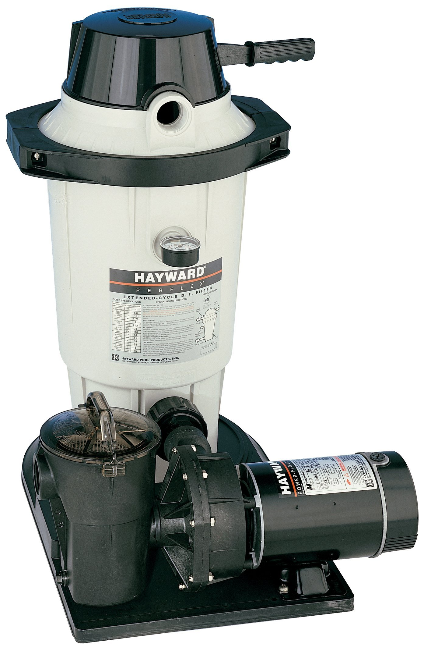 Hayward EC40C92STL Perflex 1 HP D.E. Filter Pump System , Twist Lock Cord