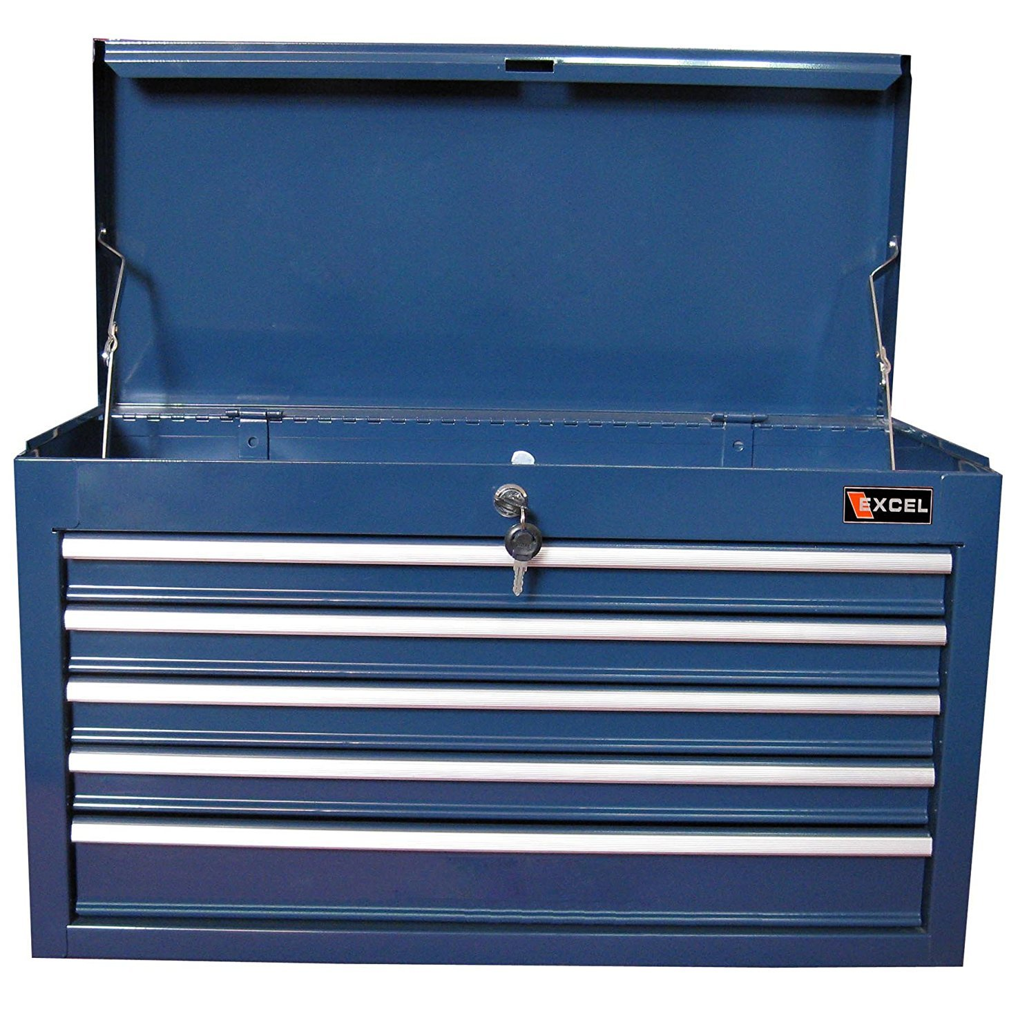 Top Seller Highest Rated 5 Drawer 26'' Steel Reinforced Professional Tool Box Organizer Blue- Ball Bearing Sliding Heavy Duty Locking Drawers With Full Length Handles- Powder Coated Corrosion Free by Above Par (Image #2)
