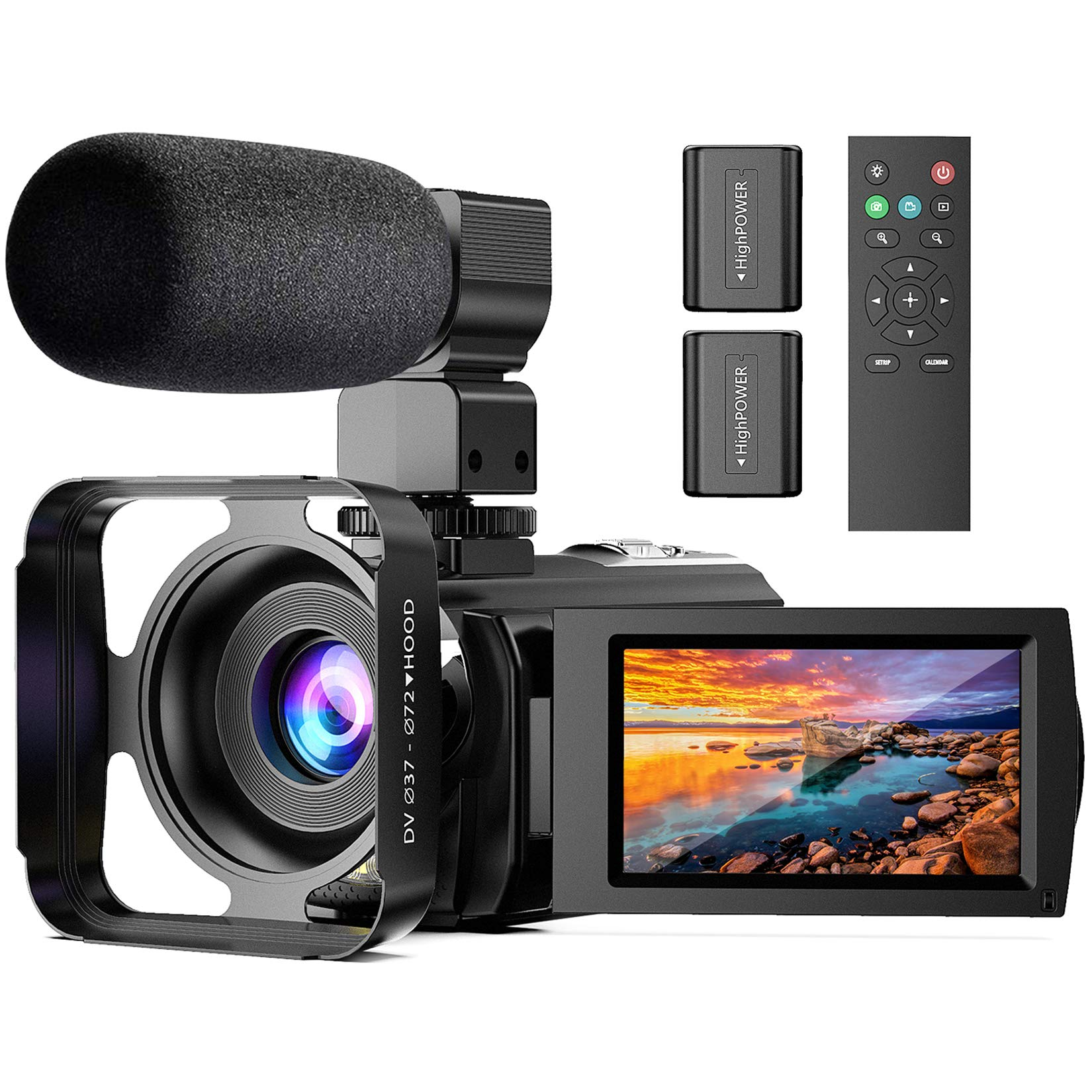 Video Camera with Microphone, Anteam FHD 1080P 30FPS 24MP Digital Vlogging YouTube Camera Camcorder Recorder 16X Digital Zoom 3 inch 270 ° Rotation IPS Screen with Remote Control, 2 Batteries