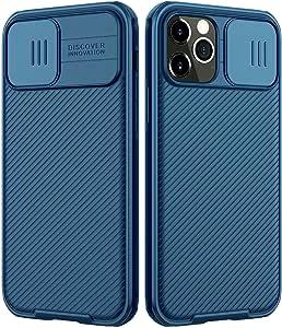 متوافق مع موبايل ابل ايفون 12 برو ماكس (6.7 بوصة) نيلكين، واقي كاميرا منزلق، جراب واقي نحيف، زرق