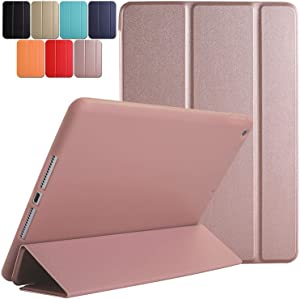 DuraSafe Case for iPad PRO 9.7 Inch 2016 [ A1673 A1674 A1675 ] Tri Fold Smart Cover with Soft Silicone Back, Auto Sleep/Wake : Soft Back - Rose Gold