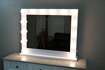White Lighted Hollywood Makeup Vanity Mirror with Dimmer,Large Size 31 x 25, Plug