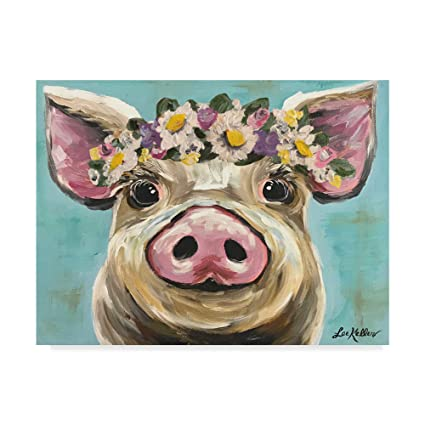133f5c4c Amazon.com: Trademark Fine Art Pig Rosie Flower Crown 3 by Hippie ...