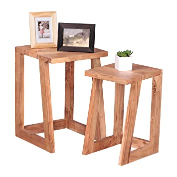 Wohnling Set Of 2 Side Solid Wood Acacia Design Nesting Tables