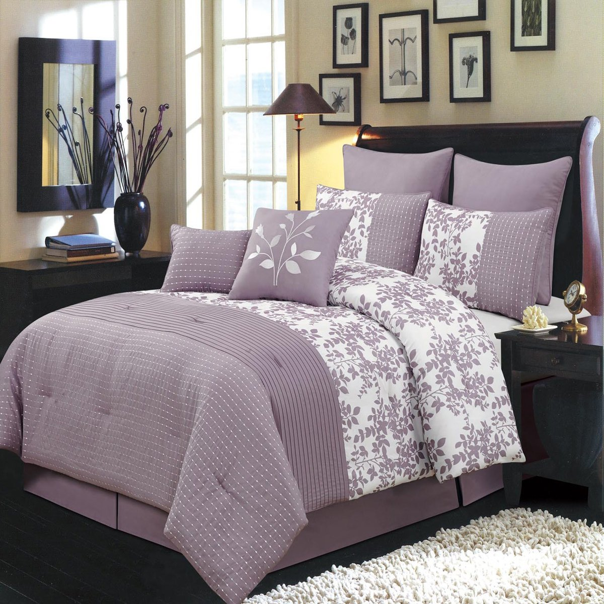 Bliss Purple and White King size Luxury 8 piece comforter set