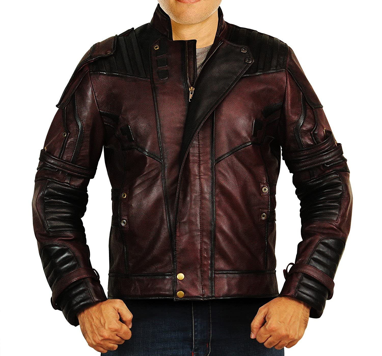 Galaxy Vol 2 Design Star Lord Chris Biker Quill Leather Guardians Jacket