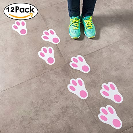 Easter Bunny Paw Print Floor Decals (1 Dozen) Floor Stickers For Easter  Party Decor