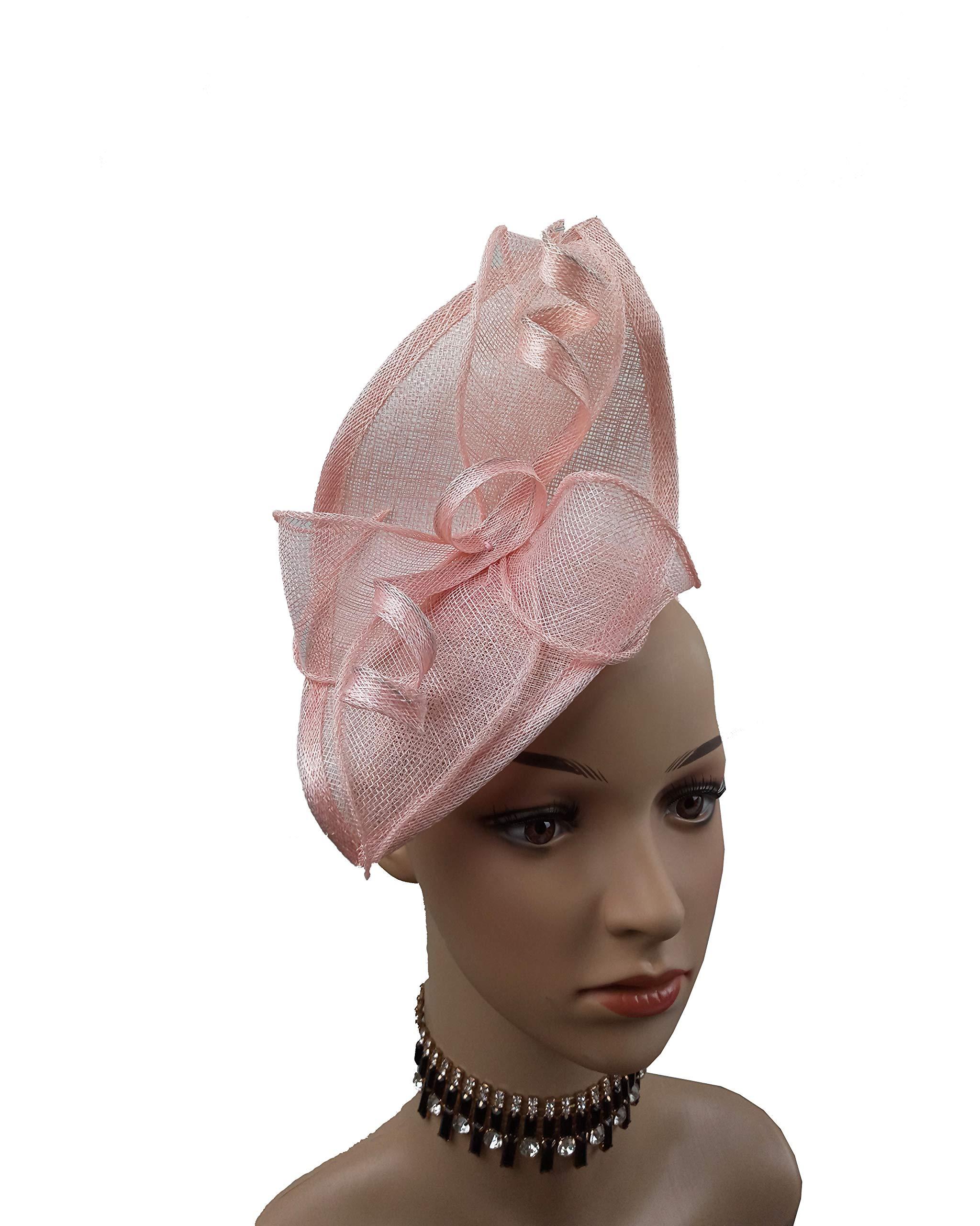 ABPF Sinamay Teardrop Fascinators Headband Hats Derby Racing Hat (Peach Pink) by ABPF (Image #2)