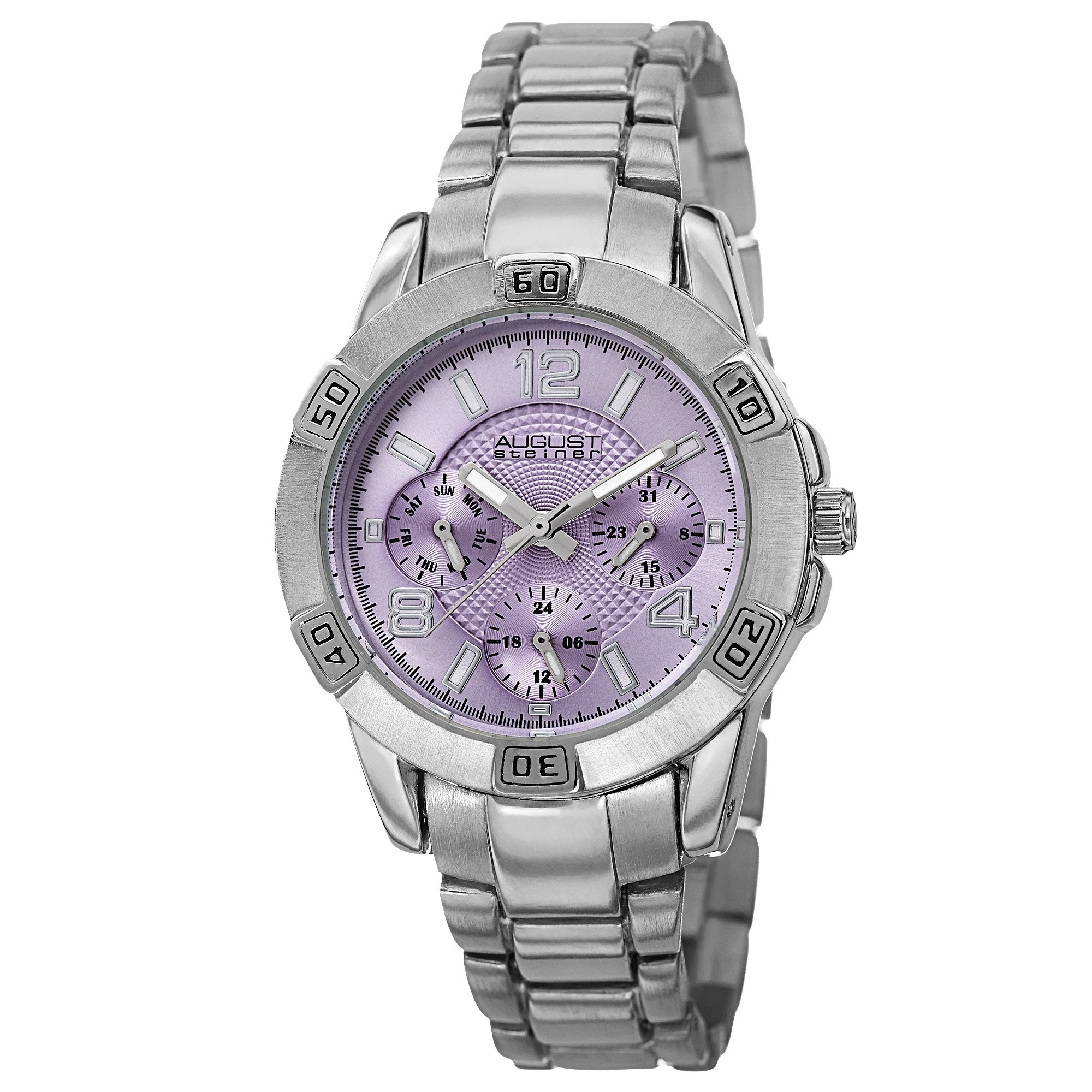 August Steiner Women's AS8143SSPU Silver Quartz Watch with Periwinkle Dial and Silver Bracelet by August Steiner