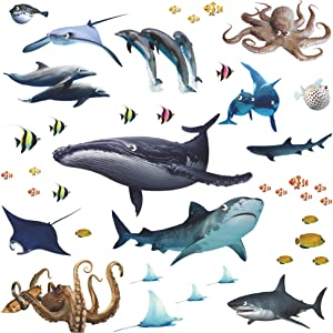 Amaonm Removable 3D Removable Under The Sea Fish Wall Sticker DIY Ocean Animals Wall Decals Whale, Shark, Squid Wall Decor Peel and Stick Art for Kids Room Baby Bedroom Nursery Boy and Girls (Fish)
