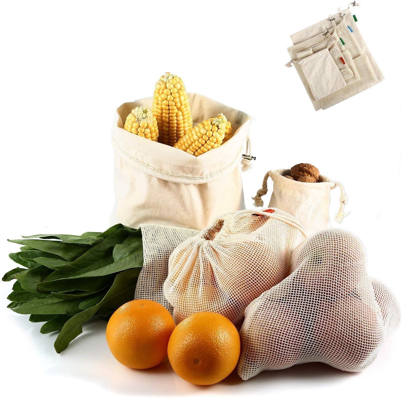 COMLIFE Bolsa de la Compra de Algodón Reutilizable Ecológica Lavable a Máquina Plegable y Resistente para comprar, Embalaje al aire libre, Almacenamiento, Frutas, Verduras - Kit de 5 Bolsas