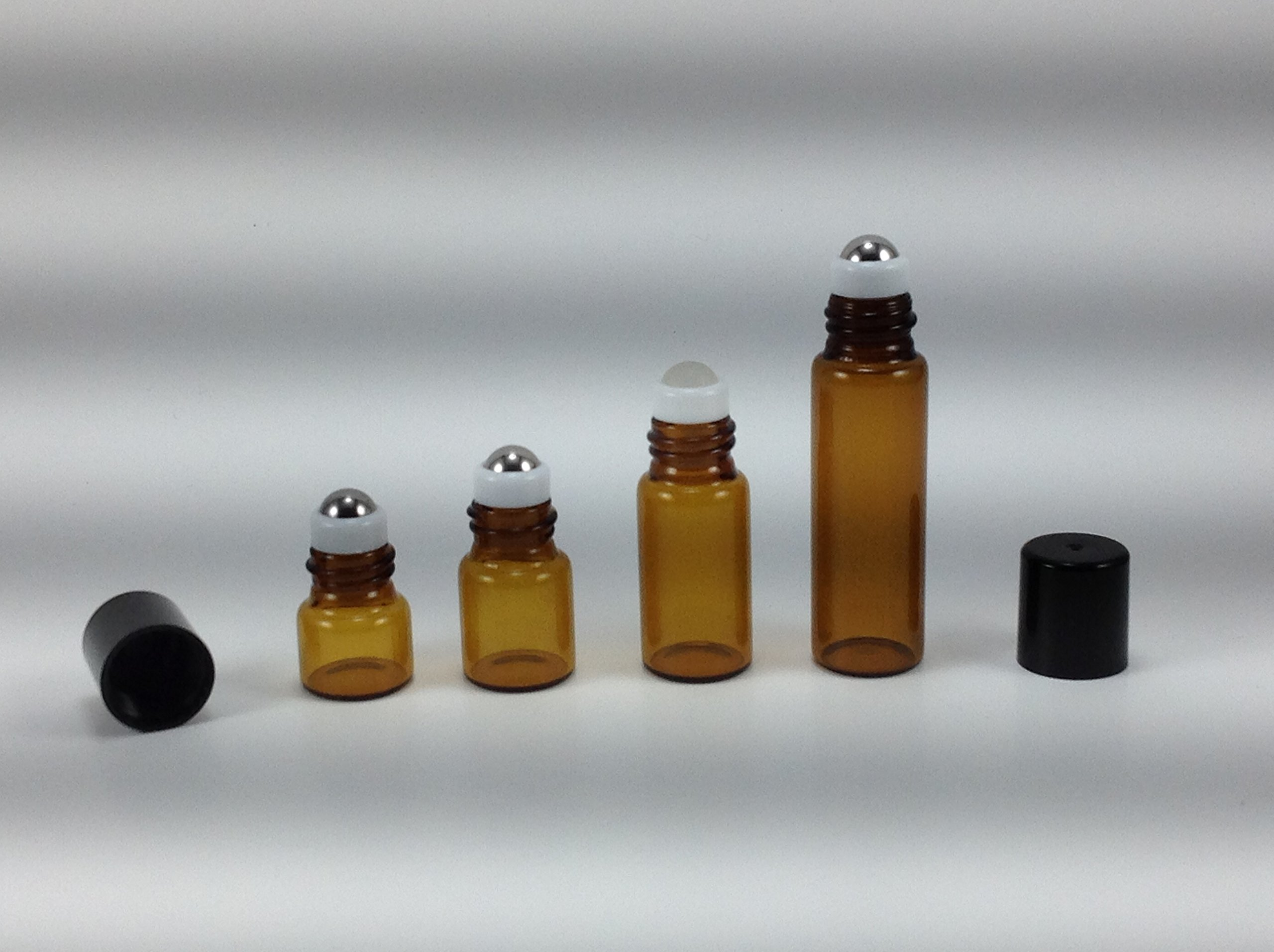 USA 144-1 ml (1/4 Dram) Amber Glass Micro Mini Roll-on Glass Bottles with Stainless Steel Roller Balls - Refillable Aromatherapy Essential Oil Roll On (144)