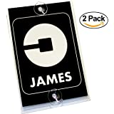 Personalized UBER Removable Suction Cup Display Cards - Pack of 2 Placard Decals for Front & Back Windshield - Perfect Accessory Signs for Uber Rideshare Drivers (New Logo)