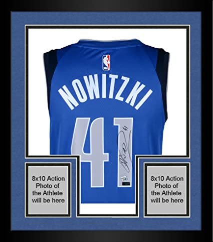 Image Unavailable. Image not available for. Color  Framed Dirk Nowitzki Dallas  Mavericks Autographed Blue Swingman Jersey - Panini Authentic ... fa718a881