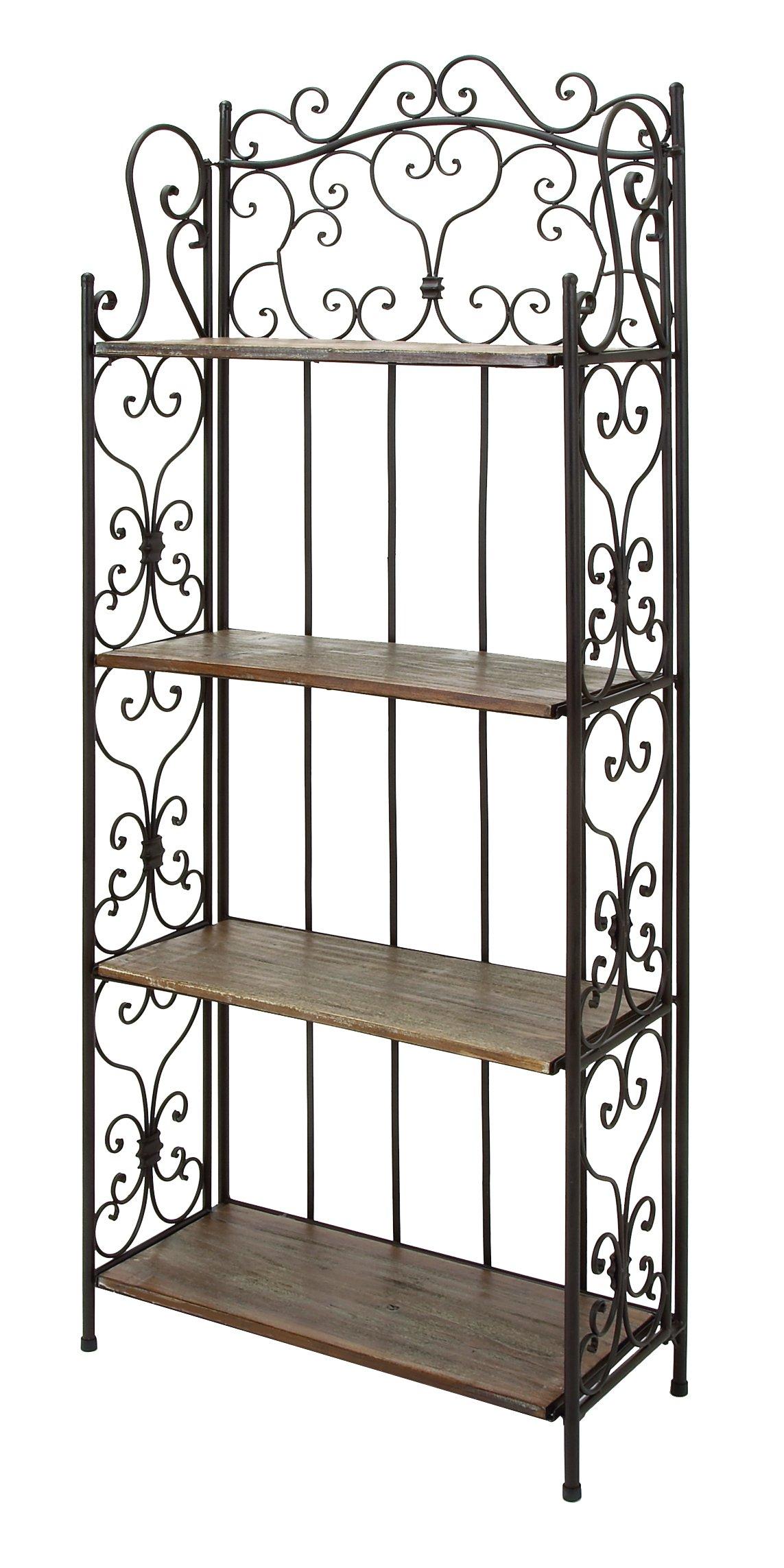 Deco 79 69872 Metal Wood Baker Rack, 27 by 68-Inch