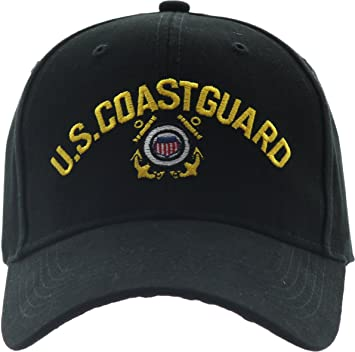 fef75ff93b4 Amazon.com   Army Universe Black US Coast Guard USCG Logo Baseball Cap Hat  with Official Pin   Sports   Outdoors